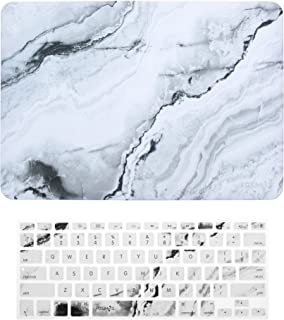 COSMOS Rubberized Plastic Hard Shell Cover Case with Silicone Keyboard Cover Skin for MacBook Air 13-Inch A1369 / A1466, White Marble Pattern