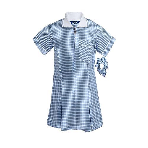 14725efa8a5 Ayra - Girl s School Uniform Pleated Gingham Summer Dress with Hair Bobble  (Scrunchie)