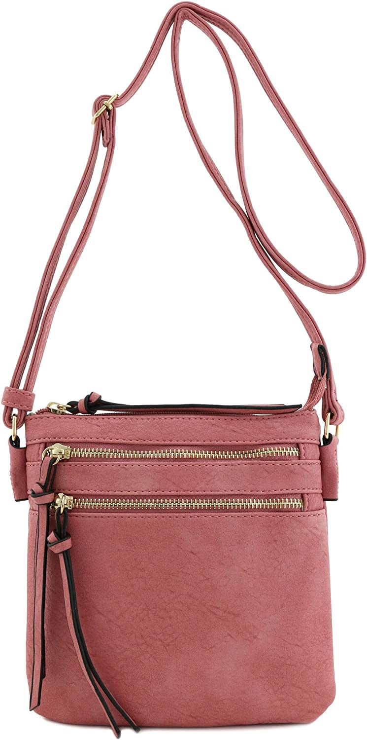 Functional Multi Zip Pocket Crossbody Bag