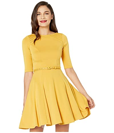 Unique Vintage Mustard Yellow Knit Half Sleeve Fit Flare Dress (Mustard) Women