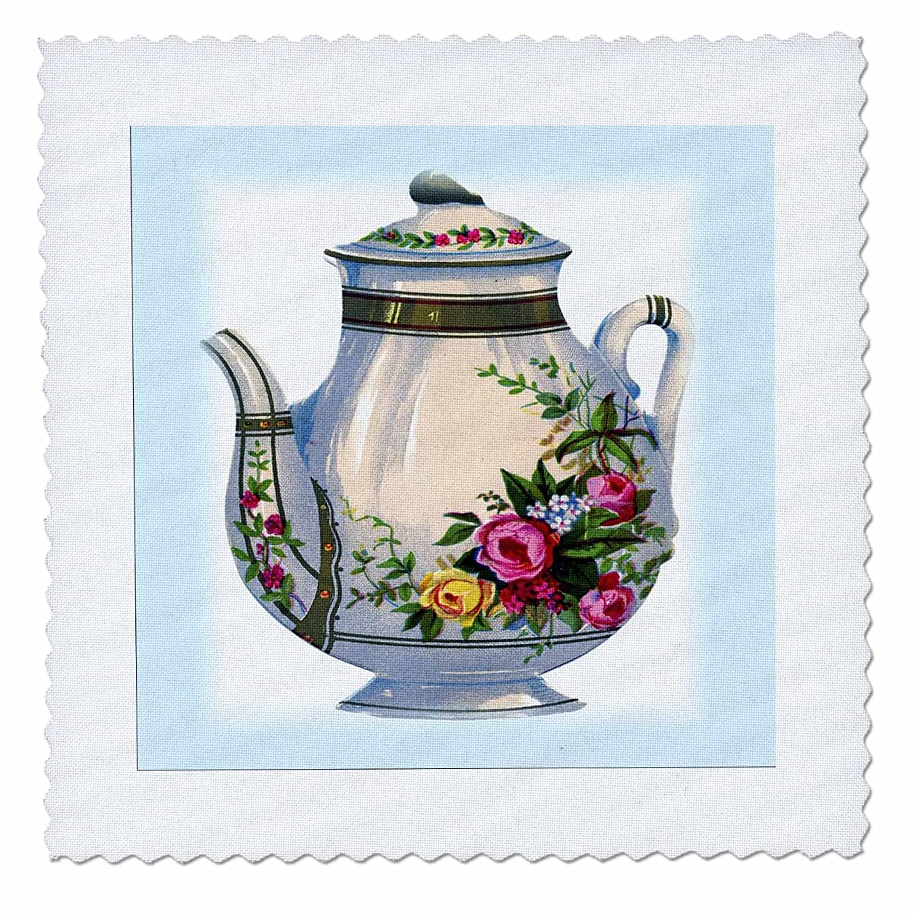3dRose qs_43813_3 Victorian Floral Teapot-Quilt Square, 8 by 8-Inch