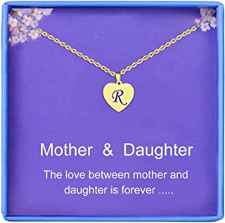Gifts for Mother and Daughter Gold Initial Heart Necklace 14K Gold Filled Handmade Dainty Personalized Letter Heart Choker...