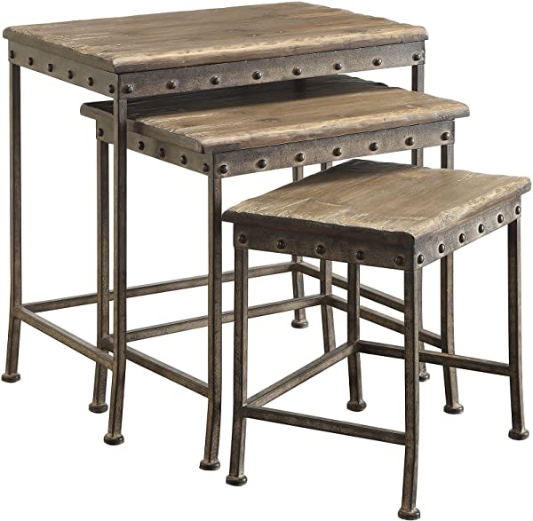 Coaster Home Furnishings 901373 Coaster Industrial Rustic Brown 3 Piece Nesting Table Set