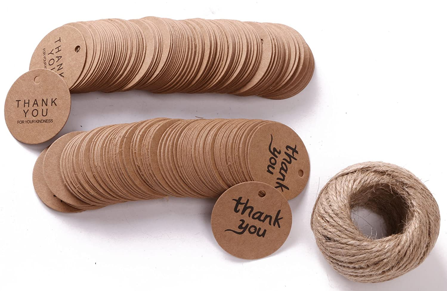 Shapenty Round Kraft Paper Gift Tags Labels Circle DIY Crafts Thank You Hanging Tags with 100 Feet Jute Twine for Christmas Holiday Birthday Wedding Favor Decorative Presents, 2 Designs, 200PCS