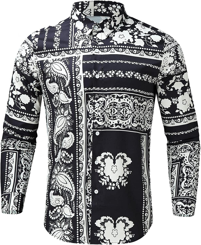 Mens Slim Fit Stylish Long Sleeve Shirt Casuall Buttom Down Tee Shirts Beach Tops Summer Autumn Blouse