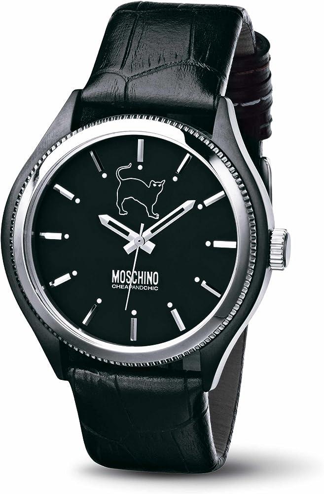 Orologio da uomo moschino lets turn black cassa in acciaio e cinturino in vera pelle MW0068