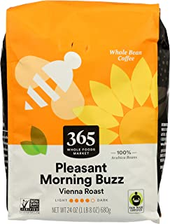 365 by Whole Foods Market, Whole Bean Coffee, Vienna Roast - Pleasant Morning Buzz (Bag), 24 Ounce