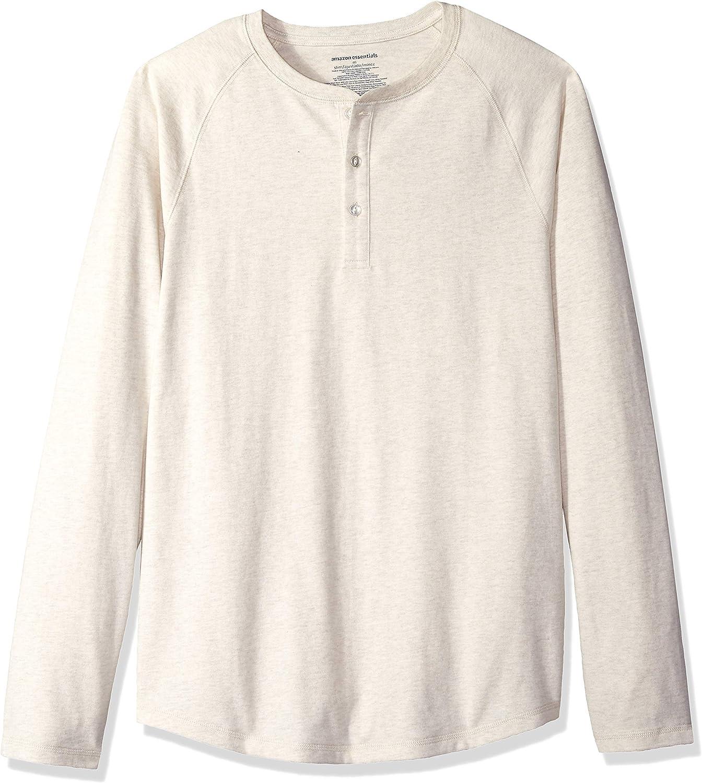 con collo Henley slim fit Essentials maglietta a maniche lunghe da uomo