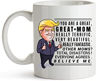 YouNique Designs Trump Mom Mug, 11 Ounces, Trump Coffee Mug Wife, Best Mom Ever Cup