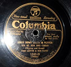 78 RPM, Ted Lewis, Away Down South in Heaven, Columbia 1242, 1927