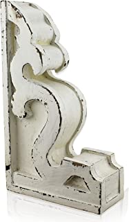 SAM + OLLIE FURNISHINGS Antique Style Corbel Finial Bookend, Chippy White Wood (10