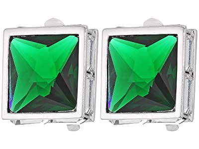 Vince Camuto Pyramid Clip Button Earrings (Rhodium/Crystal/Dark Moss Green) Earring