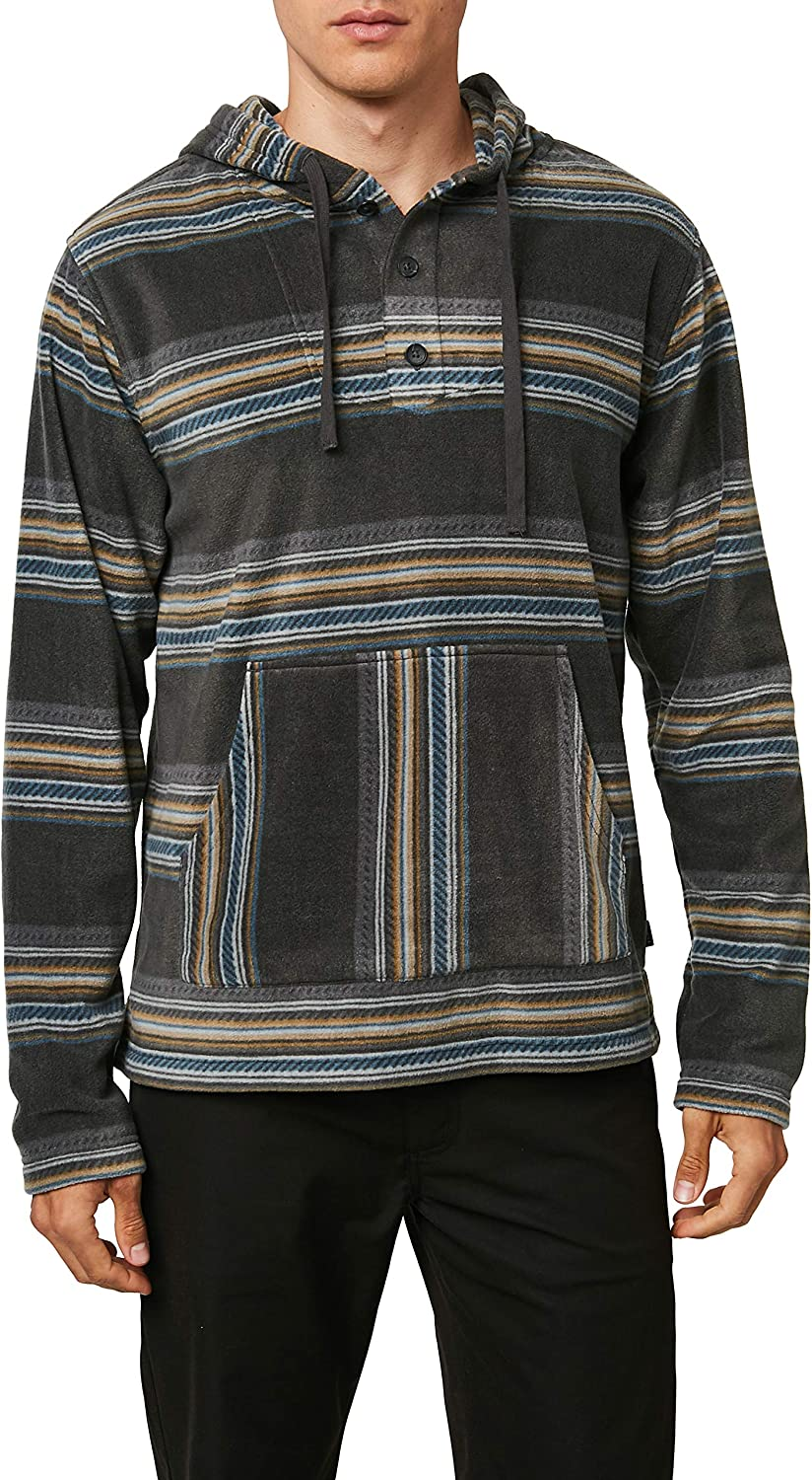 ONEILL Mens 3//4 Button Front Hooded Fleece Superfleece Sweatshirt