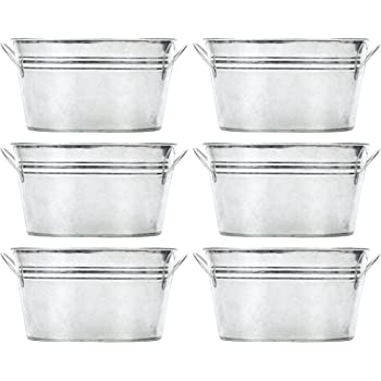 Hosley Set of 6 Oval Galvanized Planter Floral Pot 7.5 Inch Long 3.5 Inch High. Ideal Gift for Wedding House warming Home office Party and for DYI Garden Patio O4