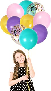 Unicorn Rainbow Confetti Balloons Pink Purple Turquoise and Gold Latex Balloons Party Kit for Birthday Baby Shower Tropical Party Decor (42 Pack)