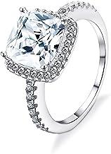 sailimue Plata de Ley 925 Anillo para Mujer Chicas Cristales Boda Compromiso Aniversario Casarse Regalo Anillo Tamaño 9-22