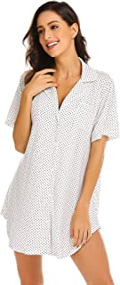 Womens Nightshirt Short Sleeves Pajama Top Boyfriend Shirt Dress Nightie Sleepwear