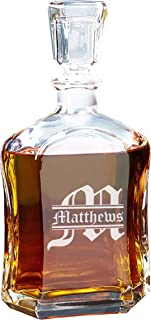Personalized Whiskey Decanter, Custom Engraved Liquor Decanter Gifts - 23 Oz - Free Engraving