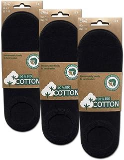 BIOBASICS, Calcetines para hombre y mujer, algodón orgánico, invisibles (4-12 pares)