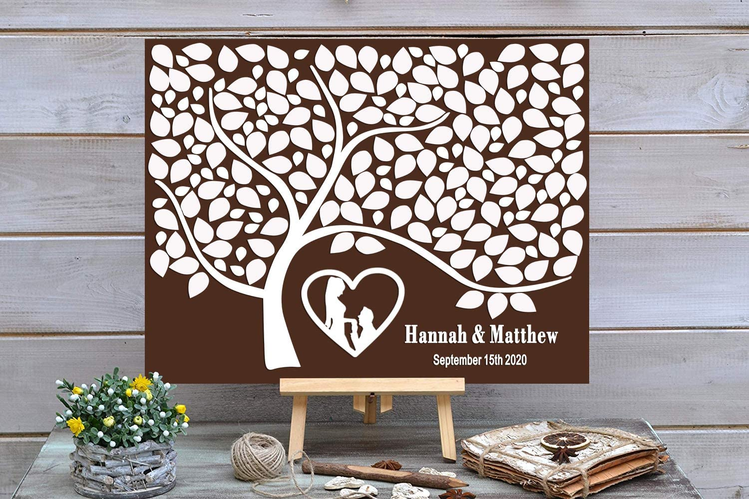 PotteLove safety Personalized Rustic Wooden Wedding Book - Custom Guest Boston Mall