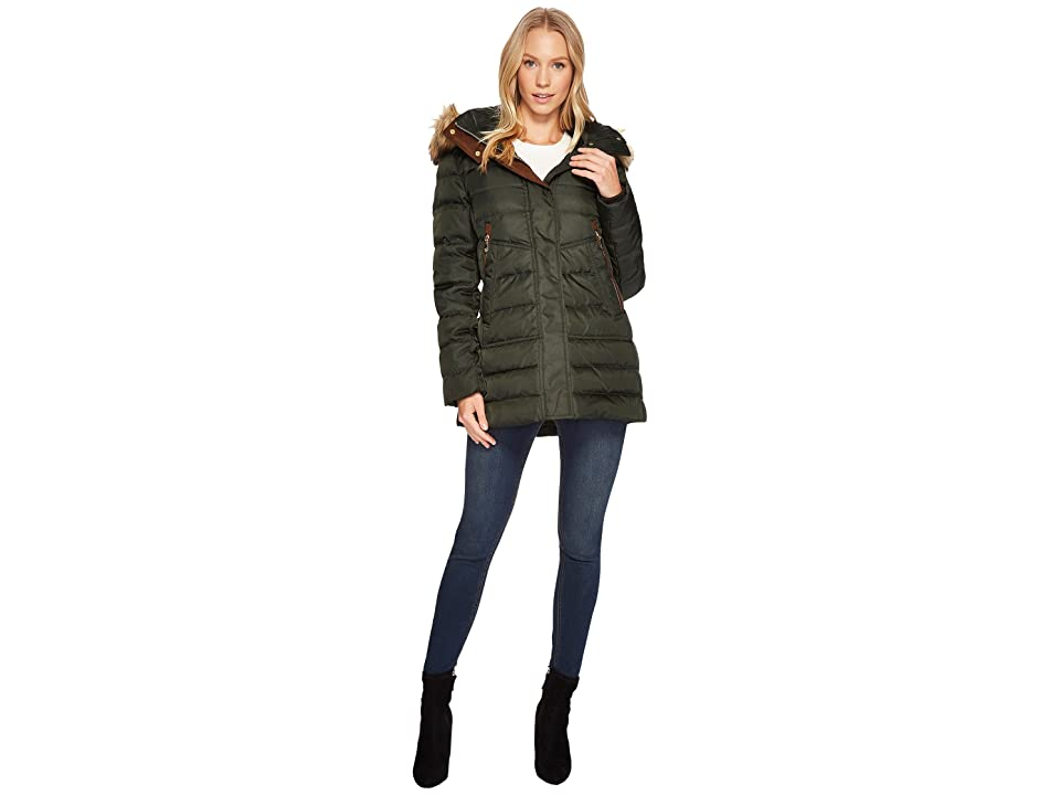 Vince Camuto Faux Fur Hooded Down with Contrast Piping N8791 (Hunter) Women
