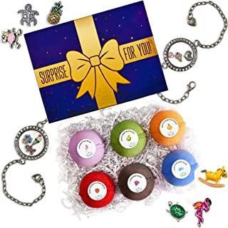 Eco Time Luxury Gift Box - Handmade Bath Bombs for Girls with Jewelry Inside - Bubble Fizzies - Multicolored Large 6 Bath Bombs - Natural & Organic Ingredients Gift Set (Bracelet with Charms)