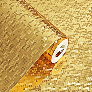 QIHANG Luxury Gold Foil Mosaic Background Flicker Wall Paper Modern Roll/Hotel Ceiling/Decorative Wallpaper Roll Gold&Yellow Colour