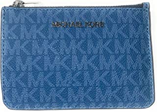 Michael Kors Jet Set Travel Small Top Zip Coin Pouch with ID Holder - PVC Coated Twill, DK CHBRY MLT, Card Case Wallet