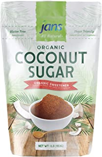 Jans All Natural Organic Coconut Sugar 16 oz | Gluten-Free | Certified Organic & Non-GMO | Low Glycemic Index | Paleo & Ve...