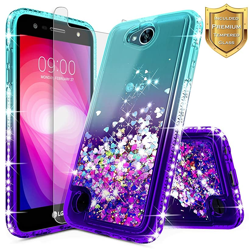 LG Fiesta 2, LG X Charge, LG X Power 2 / Fiesta LTE Case w/[Tempered Glass Screen Protector], NageBee Glitter Liquid Quicksand Waterfall Floating Flowing Sparkle Bling Girls Cute Case -Aqua/Purple