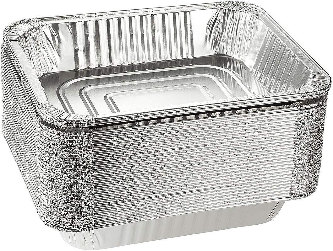 Emmner Disposable Steam Table Pans For Baking Roasting Aluminum Foil Pans Half Size Deep 9x13 Pans Pack Of 30