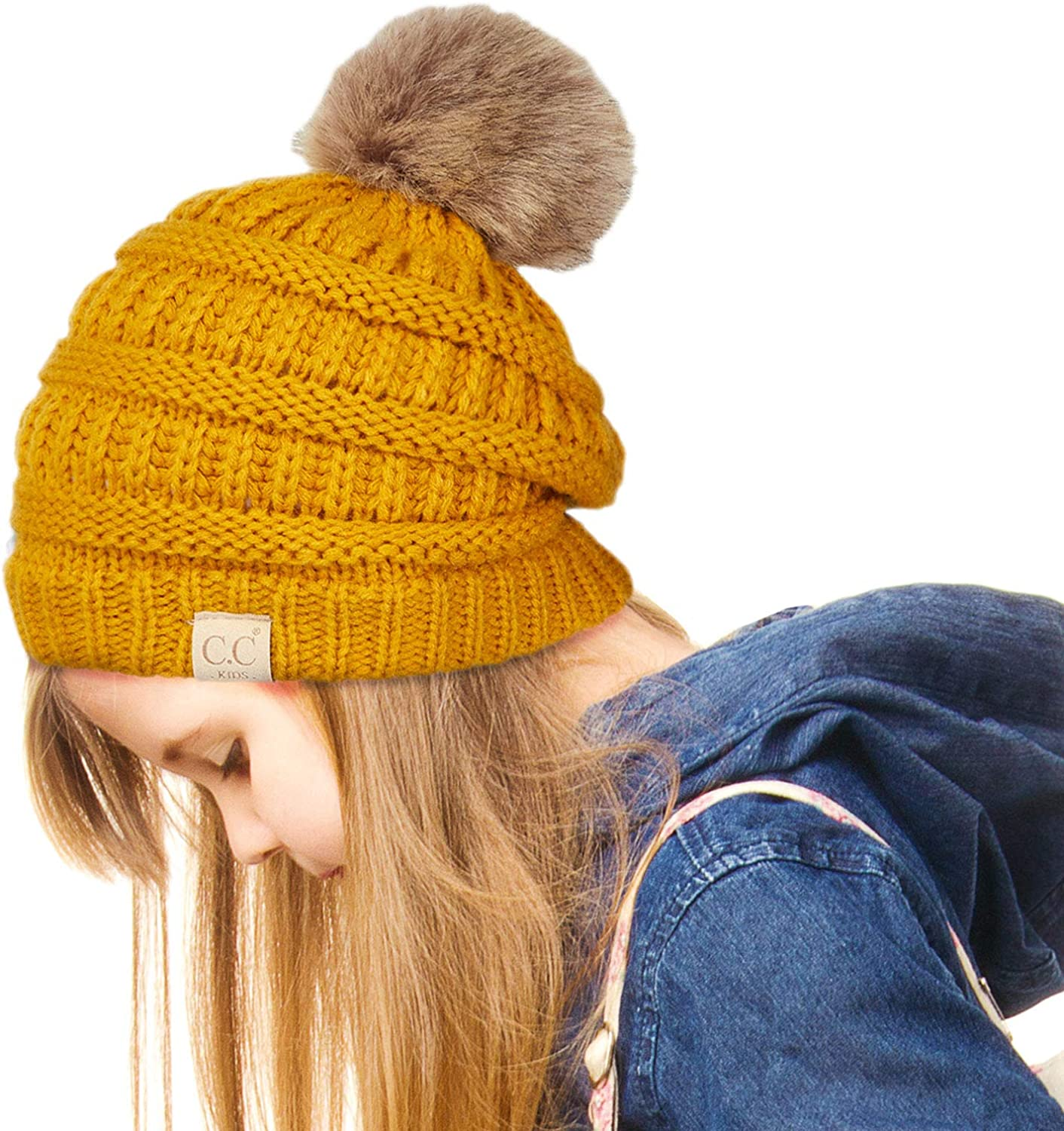 C.C Exclusives Solid Ribbed Kids Beanie Hat with Faux Fur Pom KIDS-43 KIDS-2061