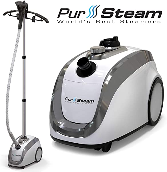 PurSteam 2019 Official Partner Of Fashion Full Size Steamer For Clothes Garments Fabric Professional Heavy Duty 4 Steam Levels Producing Perfect Continuous Steam