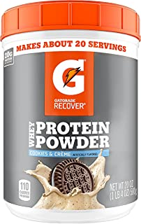Gatorade Whey Protein Powder, Cookies & Crème, 20.0 Ounce (20 servings per canister, 20 grams of protein per serving)