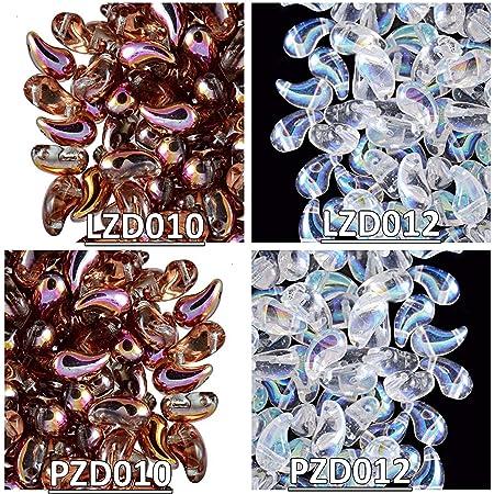 50 pcs Czech Pressed Glass Beads ZoliDuo\u00ae  5x8 mm color 02010/_25033-31Left