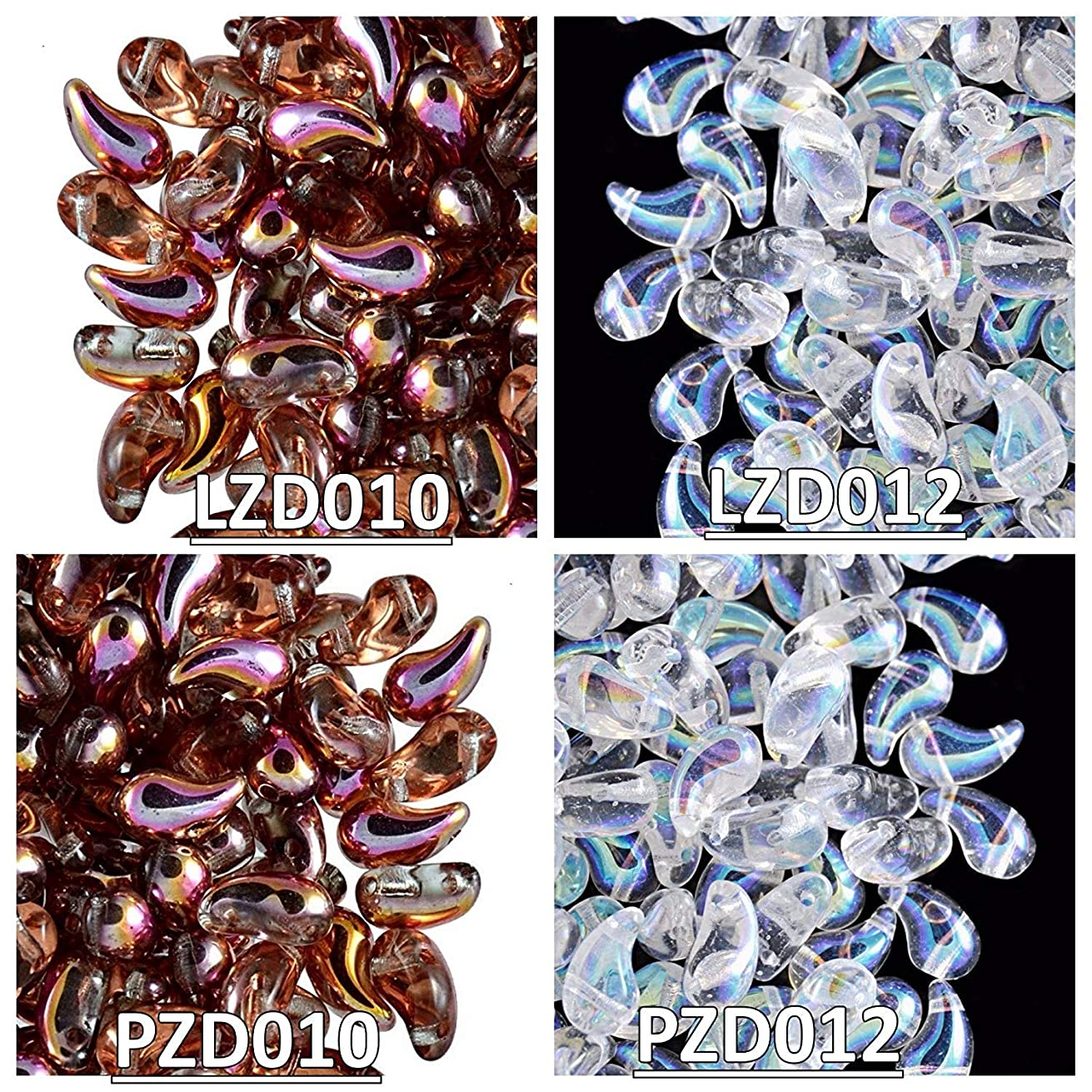 4x20pcs Czech Glass Beads ZoliDuo, 5x8mm, 2 colors in right and left versions, Set ZD 016 (LZD010 LZD012 PZD010 PZD012)