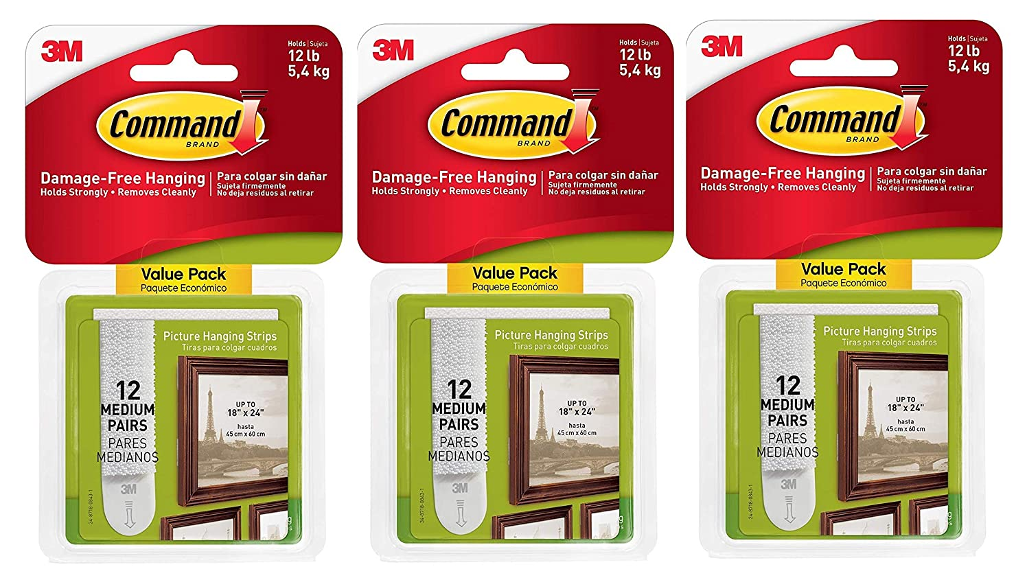 Command Picture Hanging Strips, Medium, White, 12 Pairs per Pack, Sold as 3 Pack, 36 Pairs Total (17204-12ES)