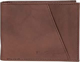 Men's Bi-Fold Wallet, Smooth Marble Crunch Brown Leather