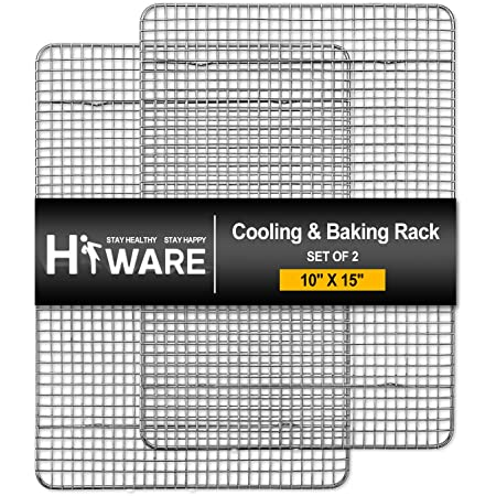 """Hiware 2-Pack Cooling Racks for Baking - 10"""" x 15"""" - Stainless Steel Wire Cookie Rack Fits Jelly Roll Sheet Pan, Oven Safe for Cooking, Roasting, Grilling"""