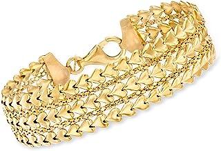 Italian 18kt Gold Over Sterling Multi-Row Heart Bracelet