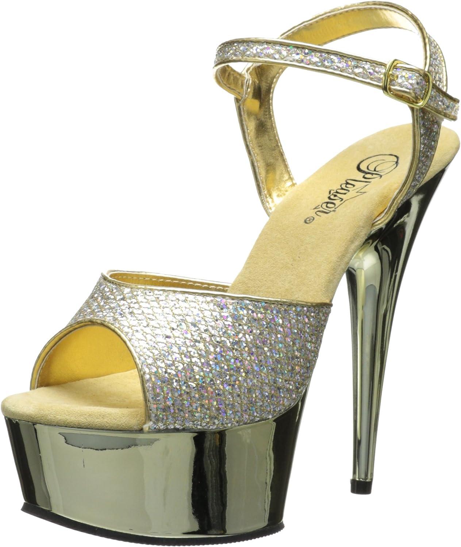 Pleaser Women's Delight-609G Buckle-Strap Sandal