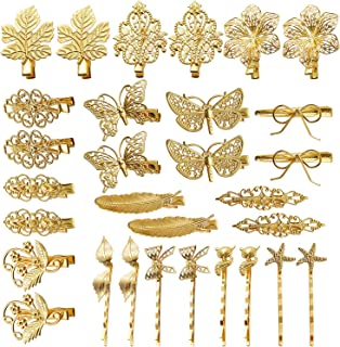inSowni 30 Pack/15 Pairs Gold Metal Alligator Hair Clips Barrettes Bobby Pins Leaf Flower Butterfly Decorative Accessories...