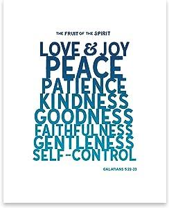 The Fruit of the Spirit Wall Art - Christian Wall Decor - Galatians 5 22 Bible Verses Wall Decor (8x10 Unframed)
