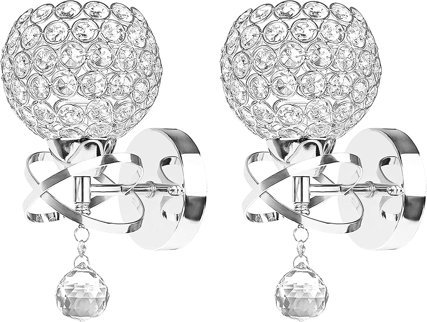 Crystal Wall Sconces Set of Two, Modern Wall Light Sconces Wall Lighting with Hanging Crystal Ball, Wall Mount Lamp Bedside Wall Lamp Silver Sconces Wall Decor for Bedroom Living Room Hallway