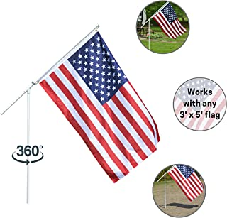 Portable Flag Pole - Premium Flagpole for Camping, The Beach, Tailgating, Includes 3x5 American Flag, Made of High Grade PVC