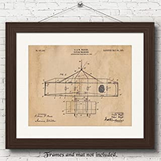 Original Wright Brothers Flying Machine Patent Art Poster Prints, Set of 1 (11x14) Unframed Vintage Picture Great Wall Art Decor Gifts Under 15 for Home, Office, Garage, Man Cave, Student, Pilot, Fan