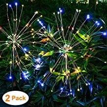 HeyMate Solar Lights Outdoor Decorative -Multi Color Solar Garden Lights with 105 LED Powered 35 Copper Wires Solar Fireworks Lights for Walkway Patio Lawn Backyard Yard Christmas Decor(2 Pack)