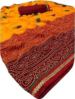 Light Weight Indian Bandhej Bandhani Printed Chiffon Sari Women occasional Formal Saree 6296