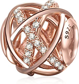 Rose Gold Galaxy Charm Authentic 925 Sterling Silver Openwork Charms with Clear CZ for European Bracelet
