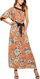 Womens Chiffon Floral Maxi Dress One Shoulder Bohemian Beach Dress Evening Dress